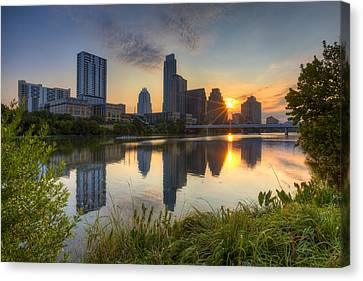 Frost Tower Canvas Print - Texas Images - Austin Skyline At Sunrise From Zilker Park by Rob Greebon