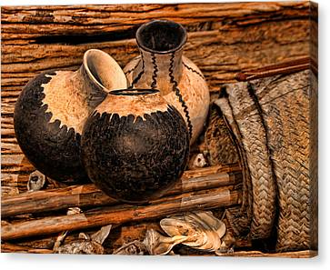 Texas Indian Potterry Jars And Artifacts Canvas Print by Linda Phelps