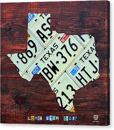 Tag Art Canvas Print - Texas License Plate Map The Lone Star State On Fruitwood by Design Turnpike