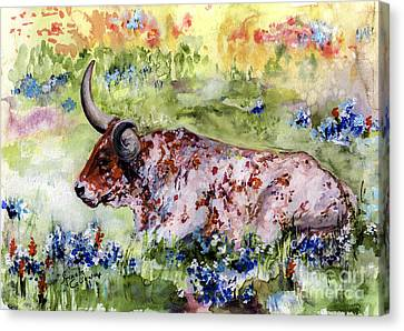 Texas Longhorn In Blue Bonnets Canvas Print