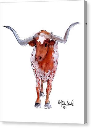 Remington Canvas Print - Texas Longhorn by Kathleen McElwaine