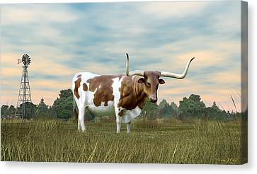 Texas Longhorn  Canvas Print by Walter Colvin