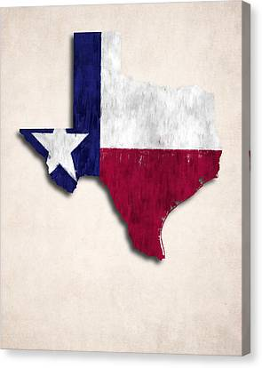 Texas Map Art With Flag Design Canvas Print by World Art Prints And Designs