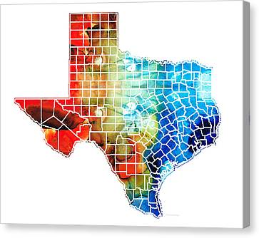 Texas Map - Counties By Sharon Cummings Canvas Print by Sharon Cummings