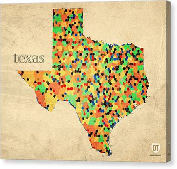 Texas Map Crystalized Counties On Worn Canvas By Design Turnpike Canvas Print by Design Turnpike