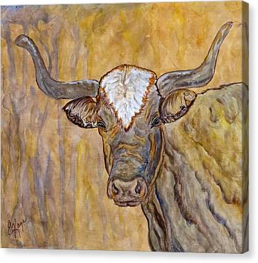 Canvas Print featuring the painting Texas O Texas Longhorn by Ella Kaye Dickey