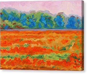 Texas Paintbrush Spring Flowers Oil Painting Bertram Poole Canvas Print