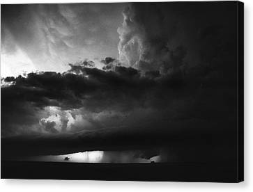 Canvas Print featuring the photograph Texas Panhandle Supercell - Black And White by Jason Politte