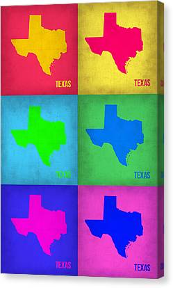 Texas Pop Art Map 1 Canvas Print by Naxart Studio