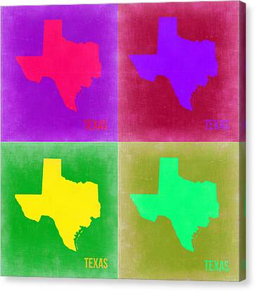 Texas Pop Art Map 2 Canvas Print by Naxart Studio