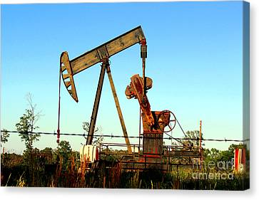 Texas Pumping Unit Canvas Print by Kathy  White