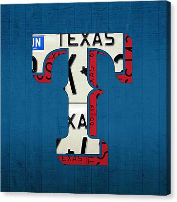 Texas Rangers Baseball Team Vintage Logo Recycled License Plate Art Canvas Print by Design Turnpike