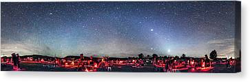Texas Star Party Panorama At Night Canvas Print by Alan Dyer