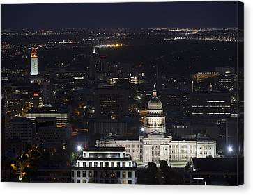 Frost Tower Canvas Print - Texas State Capitol And The Ut Tower At Night by Rob Greebon