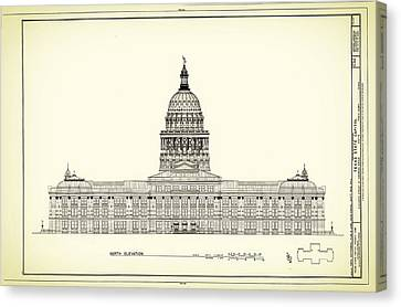Building Canvas Print - Texas State Capitol Architectural Design by Mountain Dreams