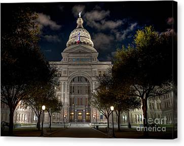 Texas State Capitol At Night Canvas Print by Tod and Cynthia Grubbs