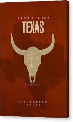 Movie Poster Canvas Print - Texas State Facts Minimalist Movie Poster Art  by Design Turnpike
