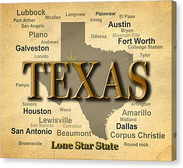 Texas State Pride Map Silhouette  Canvas Print by Keith Webber Jr