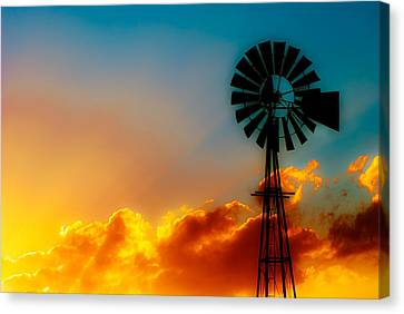 Windmills Canvas Print - Texas Sunrise by Darryl Dalton