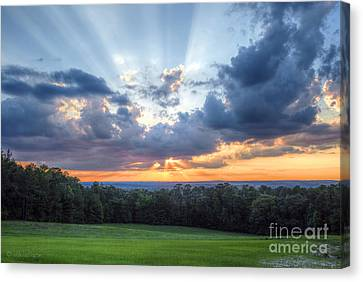 Texas Sunset As Seen From Louisiana Canvas Print by D Wallace