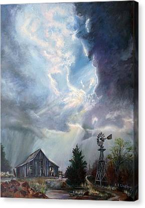 Canvas Print featuring the painting Texas Thunderstorm by Karen Kennedy Chatham