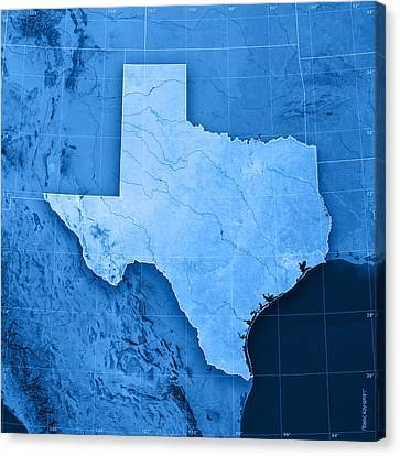 Texas Topographic Map Canvas Print by Frank Ramspott