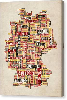 Deutschland Canvas Print - Text Map Of Germany Map by Michael Tompsett