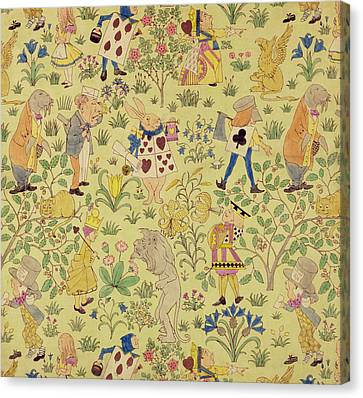 Textile Design For Alice In Wonderland Canvas Print by Voysey