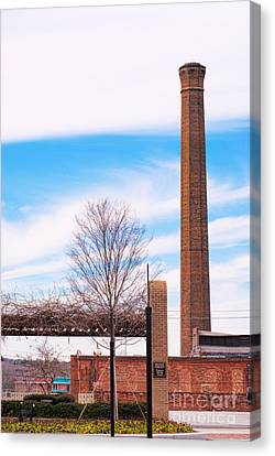 Canvas Print featuring the photograph Historical Textile Mill Smoke Stack In Columbus Ga by Vizual Studio