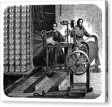 1874 Canvas Print - Textile Mill Warping Creel by Science Photo Library