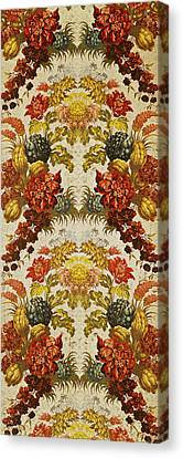 Textile With A Repeating Floral Pattern, Lyon Workshop, C.1740 Silk Brocade Canvas Print by French School