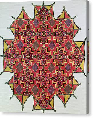 Tapestries - Textiles Canvas Print - Textile With Geometric Pattern by Moroccan School