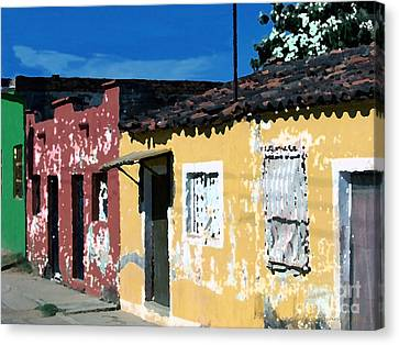 Textured - City In Mexico Canvas Print by Gena Weiser