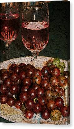 Textured Grapes Canvas Print by Barbara S Nickerson
