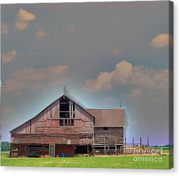 Canvas Print featuring the photograph Textured - Grey Barn by Gena Weiser