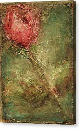 Canvas Print featuring the painting Textured Rose Art by Mary Wolf