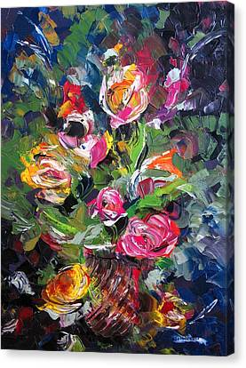 Textured Roses Painting Canvas Print by Mario Perez