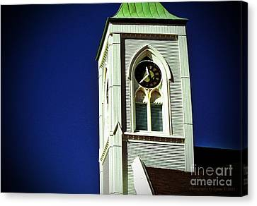 Canvas Print featuring the photograph Textured Steeple Clock by Gena Weiser