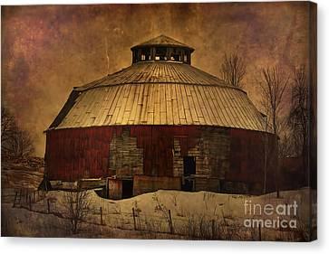Textured Vermont Round Barn Canvas Print by Deborah Benoit