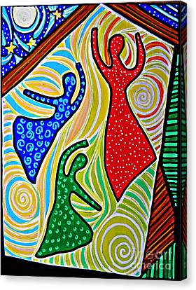 Colorful Abstract Canvas Print - The Barn Dancers by Sarah Loft