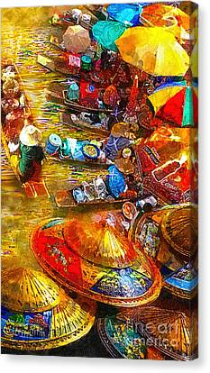 Rowboat Canvas Print - Thai Market Day by Mo T