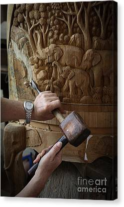Thai Woodworker Canvas Print by Inge Johnsson