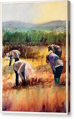 Thai Workers - Prayer Canvas Print