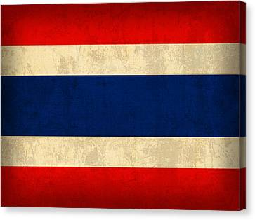 Thailand Canvas Print - Thailand Flag Vintage Distressed Finish by Design Turnpike