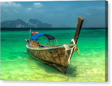Thailand Long Boat Canvas Print by Adrian Evans