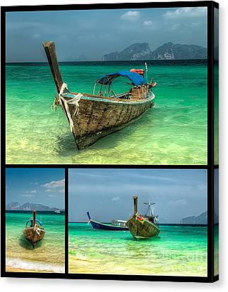 Thailand Longboats Canvas Print by Adrian Evans