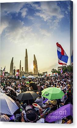 Thailand's Protest At Democracy Monument Against The Government  Canvas Print