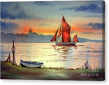 Thames Barge At Maldon Essex Canvas Print