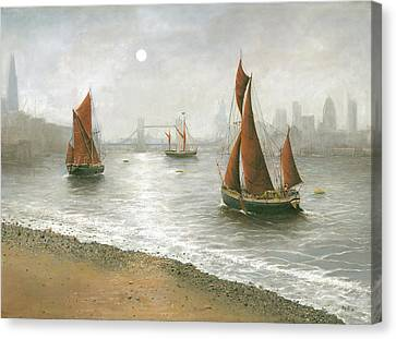 Thames Barges By Tower Bridge London Canvas Print