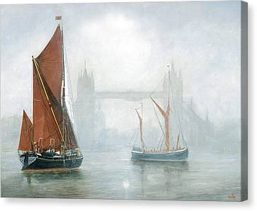 Thames Barges In Morning Mist Canvas Print